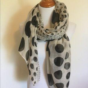 Extra long polka dot scarf